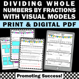 Dividing Whole Numbers by Fractions on a Number Line Worksheets with Visuals