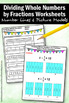 Dividing Whole Numbers by Fractions with Visual Models Worksheets