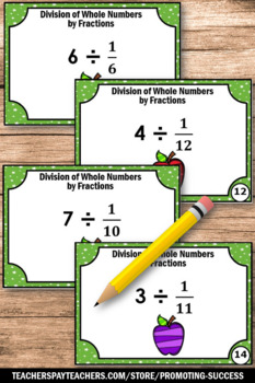 Dividing Whole Numbers by Fractions Task Cards, 5th Grade Math Centers