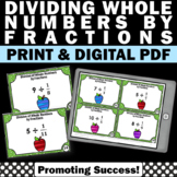 Dividing Whole Numbers by Fractions Task Cards, 5th Grade Math Review