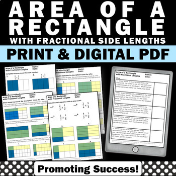 Area of a Rectangle with Fractional Side Lengths Worksheets