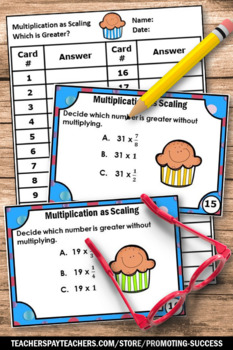 Multiplication as Scaling Multiplying Fractions Task Cards 5th Grade Math Review