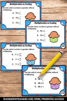 Multiplication as Scaling Multiplying Fractions Task Cards 5th Grade Math Center