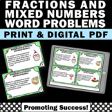 Multiplying Fractions and Mixed Numbers Word Problems Distance Learning Digital