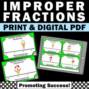 Improper Fractions on a Number Line Task Cards 3rd Grade Math Review Games
