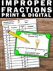 Improper Fractions on a Number Line Task Cards, 3rd Grade Math Review Game