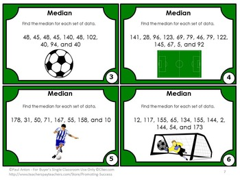 Median Task Cards, Measure of Center, Probability Activities, 6th Grade Math