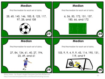 Find the Median Task Cards for Measures of Central Tendency Unit