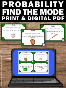 Mode Task Cards, Measure of Center, Probability and Statistics 6th Grade