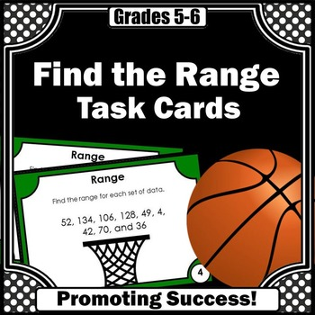 Range Task Cards, Measure of Center, Probability and Statistics 6th Grade