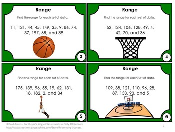 Find the Range Task Cards, Measures of Central Tendency