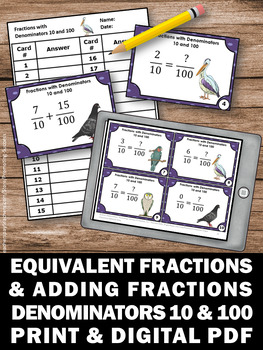 Adding Fractions & Equivalent Fractions Task Cards, Fraction Games SCOOT