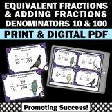 Adding Fractions with Unlike Denominators, Equivalent Fractions Task Cards