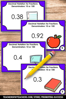 Decimal Notation for Fractions Task Cards, 4th Grade Math Review Games 4.NF.C.6