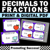 Decimals to Fractions Task Cards Denominators 10 or 100 4th Grade Math Centers