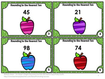 Rounding to the Nearest Ten Center, 3rd Grade Rounding Numbers Task Cards