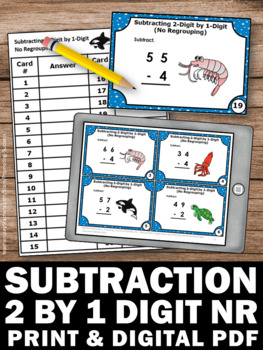 Subtraction Without Regrouping Task Cards, 1st Grade Math Review Games SCOOT
