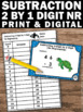 2 Digit Subtraction Without Regrouping Task Cards, 1st Grade Math Review Game