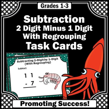 2 Digit Subtraction with Regrouping Task Cards, 2nd Grade Math Distance Learning