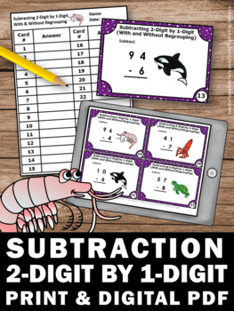 Subtraction With and Without Regrouping, 2nd Grade Subtraction Task Cards SCOOT