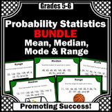 Mean Median Mode Range Activity Bundle Distance Learning Math Games Task Cards