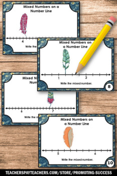 Mixed Numbers on a Number Line, Fraction Task Cards, 3rd Grade Math Review Games