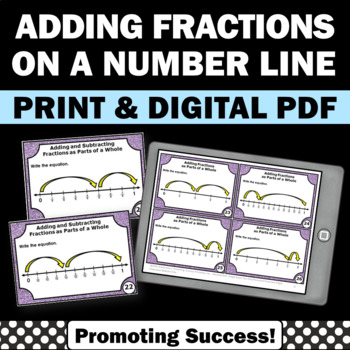 Adding Fractions on a Number Line 4th Grade Math Review, Fraction Task Cards