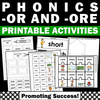 1st Grade Phonics Games ( ore and or Words ), R Controlled Vowels Word Work
