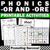 R Controlled Vowels Worksheets { or and ore words } Vowel Sounds
