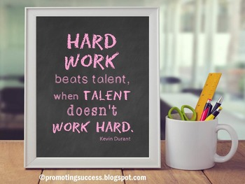 Working Hard Inspirational Quote Motivational Poster Pink Classroom Decor