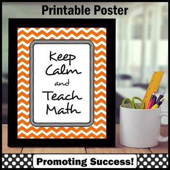 Keep Calm and Teach Math Poster Teacher Appreciation Week Gift Idea