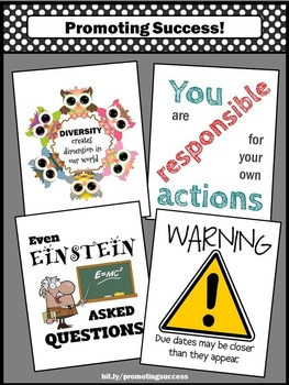 Back to School Classroom Decorations Set of 4 Printable Motivational Posters