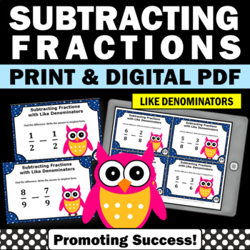Subtracting Fractions with LIKE Denominators Task Cards, 4th Grade Math Review