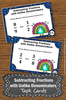 Subtracting Fractions with UNLIKE Denominators, Fraction Task Cards