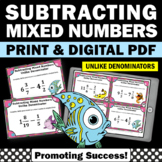 Subtracting Mixed Numbers with Regrouping, 5th Grade Fraction Task Cards