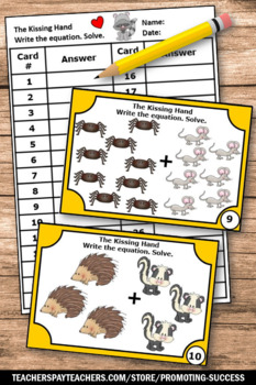 The Kissing Hand Activities, Kindergarten Addition Facts Task Cards