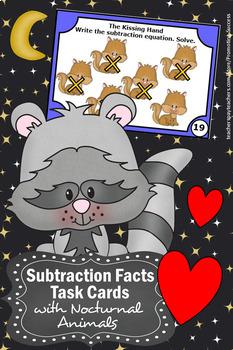 The Kissing Hand Activities, Kindergarten Math Centers, Subtraction Task Cards