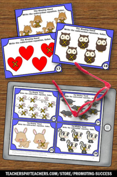 The Kissing Hand Math Activities, Kindergarten Subtraction Facts Task Cards
