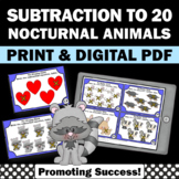 The Kissing Hand Math Activities, Nocturnal Animals Subtraction to 10 Task Cards