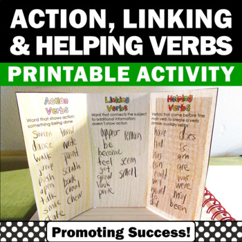 Action Verbs, Linking Verbs, Helping Verbs Interactive Notebook Activities