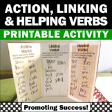 Action and Linking Verbs Interactive Notebook, Helping Verbs Activities