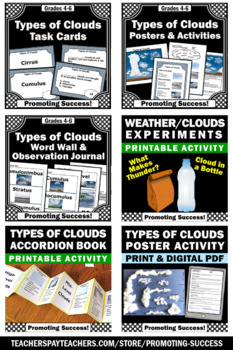 Summer School Science Weather Unit Bundle, Types of Clouds Activities Review