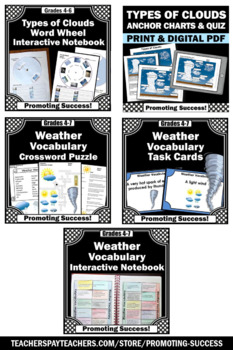 Science Weather Activities BUNDLE, Types of Clouds Interactive Notebook
