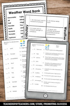 Weather Interactive Notebook Activity, 4th 5th 6th Grade Science Review