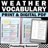 Weather Interactive Notebook Activity, 5th 6th Grade Science Weather Activities