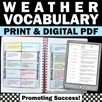 Weather Unit Interactive Notebook Craftivity Science Vocab
