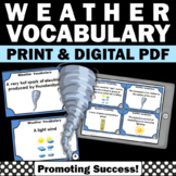 Weather Task Cards or Games & Activities, Supplements Weather Unit Vocabulary