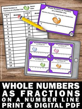 Whole Numbers as Fractions on a Number Line Task Cards, 3rd Grade Fraction Games