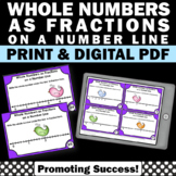 Whole Numbers as Fractions on a Number Line Task Cards, 3rd Grade Math Review