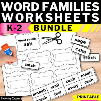Word Families Worksheets BUNDLE, Word Work Activities 1st Grade Speech Therapy